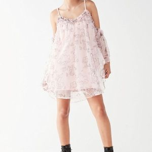 NWT UO NICOPANDA Pink Mesh Mini Dress
